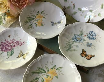 Set of 4 Lenox Butterfly Meadow Party Plates from the fabulous Lenox artist, Louise Le Luyer