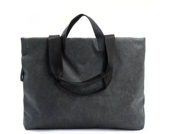 gray shoulder bag - large tote bag - womens handbags - carry all bag - everyday bag - market bag - shopping bag - shopper bag - BFFSIDE