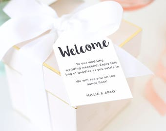 Welcome Bag Tags, Welcome Hang Tag, Wedding Hotel Bag Tags, Favor Tags, Gifts Tags, Painted Script | SUITE031