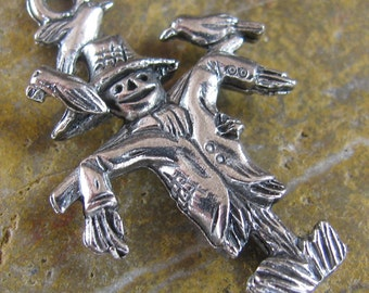 Antique Silver Fall Scarecrow Halloween Charms - 6 Pcs - 1295