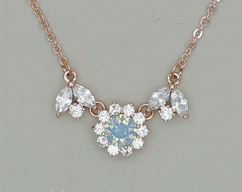 Sky Blue Bridesmaid Necklace Blue Opal Crystal Necklace Swarovski Necklace Bridesmaid Gift Light Blue Rhinestone Jewelry Rose Gold Necklace