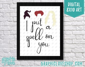 Printable 8x10 I Put a Spell On You - Hocus Pocus Quote Digital Art Print   High Res JPG File Instant Download, Ready to Print