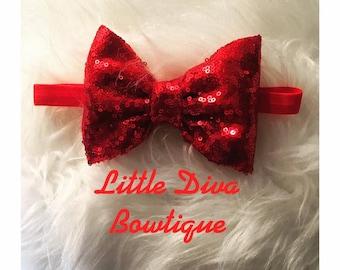 glitter bow - christmas headband- fancy headband- cute headband- princess- baby headband