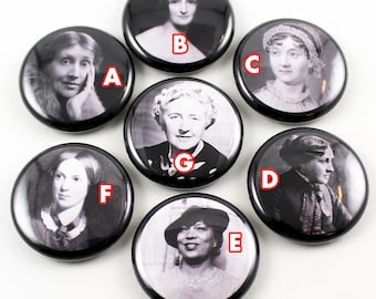 Literary 1 inch Pinback Buttons | Authors | Austen | Bronte | Christie | Hurston | Alcott | Shelley | Woolf | Classic Literature Female