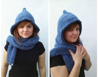 Blue knit wool and alpaca hooded scarf, blue hooded scarf, alpaca hooded scarf, knit alpaca scarf, wool hooded scarf, alpaca knitted hood