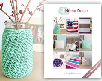 Home Decor Crochet Patterns - 9 Pattern E-Book by Little Monkeys Crochet  |  home decor crochet pdf patterns, instant download pdfs