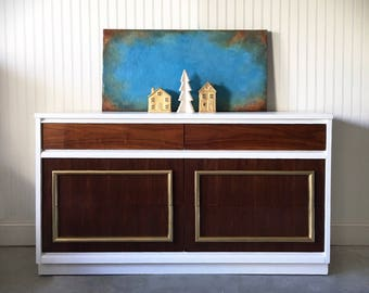 SOLD Mid Century Modern Dresser and Nightstand, Snow White Painted, Media Console, Gold