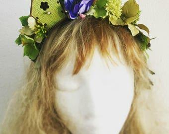 """Charming FloralCrown """"Bird House"""", Unique floral wreath"""