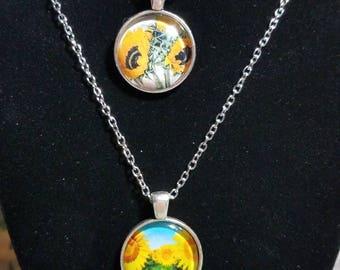 Sunflower Pendant, Sunflower Necklace, Sunflower Jewelry, Glass Pendant Art Necklace, Jewelry, Sunflower Photo Jewelry, Glass Pendant Gift
