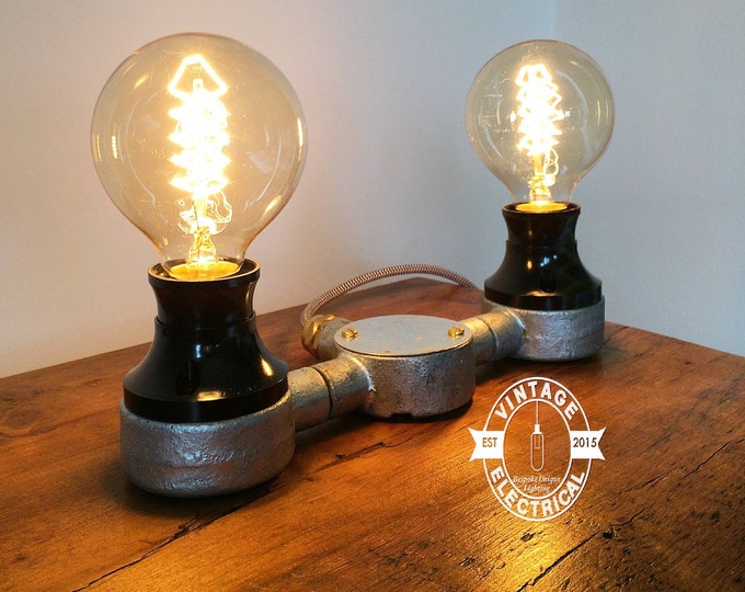 steampunk lighting. The Barford Bakelite Twin Industrial Table Light Vintage Edison Filament Steampunk Uk Plug Brass Gland Rustic Lighting