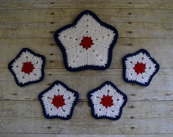 Hot Pad and Coaster Set - Patriotic Star Hot Pad - Coasters - Hot Pad - Red White Blue Coasters - Pot Holder -  Sale