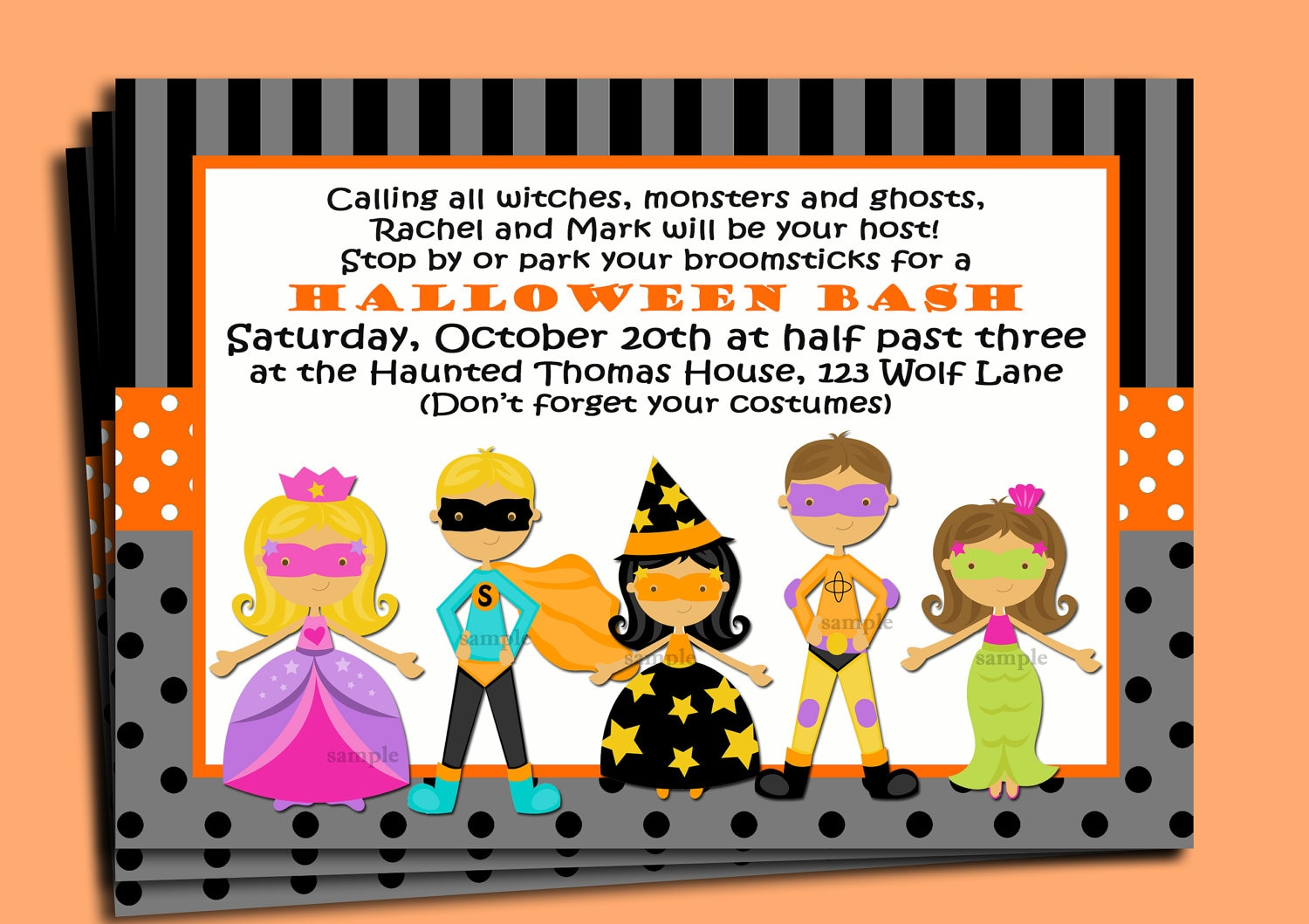Halloween Kid\'s Invitation Printable or Printed with FREE