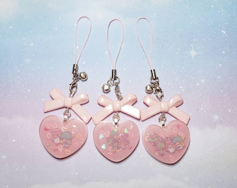 Little Twin Stars Heart Phone Strap With Bow