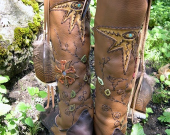 Custom Leather Boots Hand Crafted Leather Knee-High Moccasins Made To Order Shoes Custom Fit Moccasins  Wearable Leather Art Work