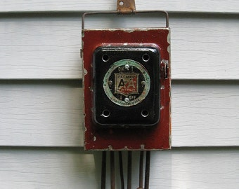 Rustic Industrial Electrical Fuse Box Night Light
