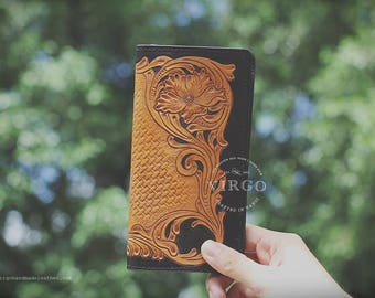 Sheridan hand tooled wallet for men | Personalized vegetable tanned leather handmade wallet