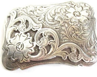 1994 Silver tone belt buckle western floral beautiful belt buckle cowboy belt buckle western metal belt buckle vintage kids belt buckle