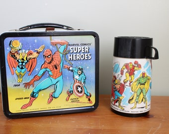 Marvel Comics' Super Heros Metal Lunch Box, 1976, Aladdin Lunchbox, Missing a Piece of the Thermos