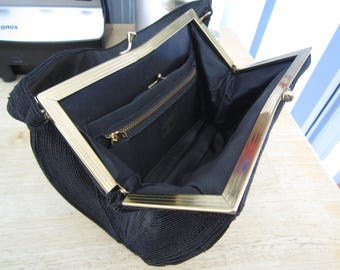 Original 1940's Black Cordécraft Kiss Lock Handbag