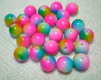 Rainbow Painted Round Glass Beads (Qty 25) - B3022