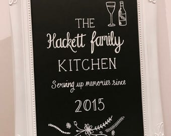 Personalised family name chalkboard sign