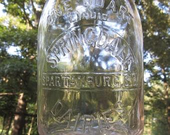 SC Springdale Dairy Spartanburg South Carolina Quart Milk Bottle