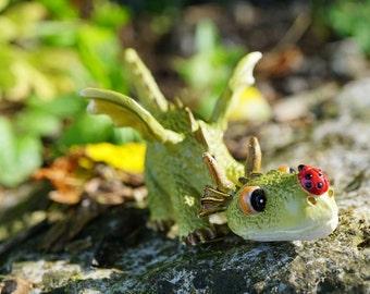 Miniature Dragon Figurine, Enchanted Story, Whimsical Miniature Garden, Fairy Garden Accessory, Dragon with Ladybug