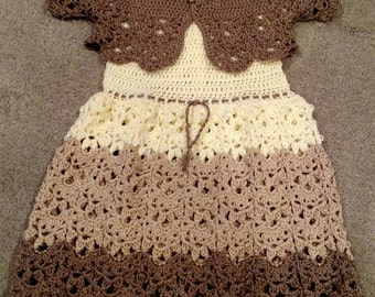 KnottedwLove Designs crocheted toddler dress.