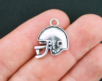 6 Football Helmet Charms Antique Silver Tone Larger Sized - SC3816