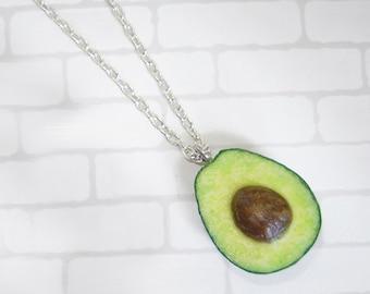 Avocado Necklace. Polymer clay food. Real look.  Size avocado - 1 inch.