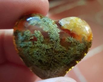 Moss multicoloured agate heart