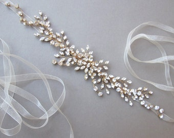 Swarovski crystal headband hair vine in gold or silver, Bridal crystal headband hair vine with organza, Wedding rhinestone belt or headband