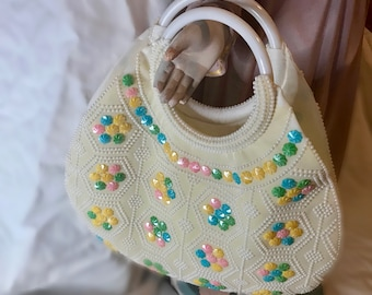 1960's Beautiful Beaded Purse with Lucite Handle