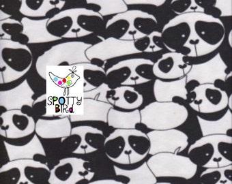 Black & White Panda Jersey Fabric
