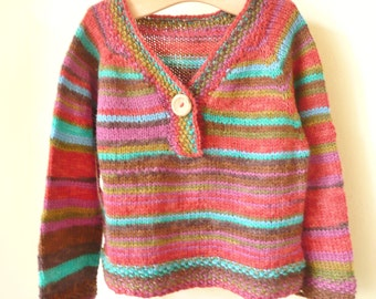 Knitting Pattern Sweater Jumper - Jamie a Top Down Seamless Stripy Sweater (6 Sizes for 0 - 7 years)