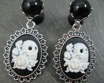 Dangle Plugs - 10g - 8g - 6g - 4g - 2g - 0g - Skull Gauges - Plug Earrings - Dangle Gauges - Skull and Rose - Skeleton Plugs