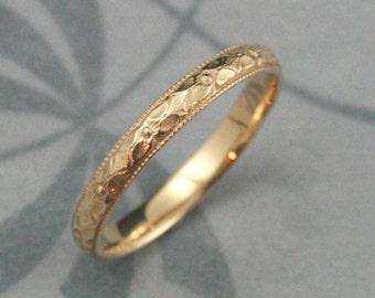 Orange Blossom Ring--14K Gold Renaissance Band--Women's Wedding Ring--Antique Style Band--Vintage Style Ring--Milgrain Edge--Patterned Ring