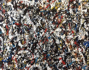 JACKSON POLLOCK homage - signed original vintage painting on canvas (Abstract expressionism)