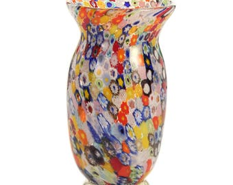 Vase in Artistic blown glass with murrine and base in silver leaf, Murano glass vase with Millefiori murrine and silver leaf base