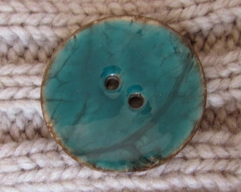 Turquoise Enamel Coconut Button