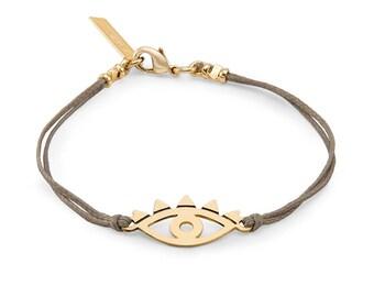 Evil Eye Bracelet, Silver Eye Bracelet, Cord Bracelet, Friendship Bracelet, Best Friend Bracelet, Charm Bracelet, Bracelet For Women