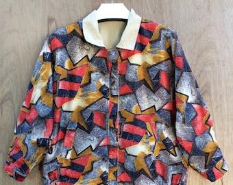 Vtg 90s Olympic Seoul korea multicolor reversible zipper jacket M size