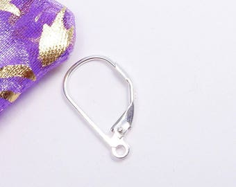 4pcs Jewellery Findings Earwire 925 Sterling Silver,10* 17mm Leverback with open loop-FDE0002