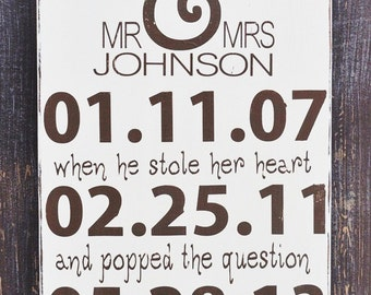 Personalized Wedding Sign, Engagement Gift, Wedding Gift, Bridal Shower Gift, Anniversary Gift, Special Date Sign