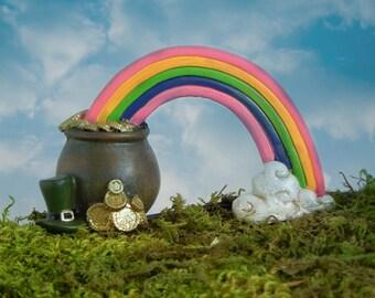 Fairy garden pot of gold rainbow, miniature garden accessories, St. Patrick's Day miniatures, pot o gold, accessory, leprechaun top hat,