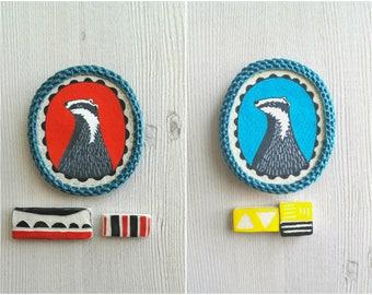 Animal brooch, crocheted pin, badger jewelry, animal pin, woodland jewelry, fabric broch, badger brooch, painted brooch, animal broach