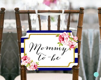 Navy Blue Mommy to be Chair Banner, Baby Shower Decorations, Baby Shower Chair Banner, Mommy Sign, Printable Chair Sign TLC406