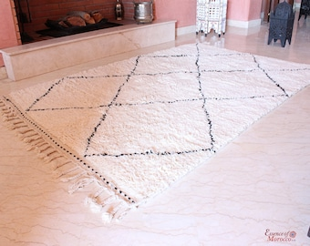 Beni Ourain Rug Moroccan Pure Wool Hand-knotted Large 228 x 152 cm / 7.5ft. x 5ft. (BON13)