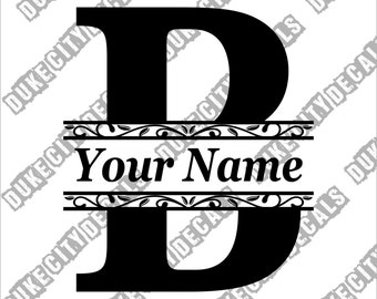 Letter B Initial Monogram Family Name Vinyl Decal Sticker - Personalized Floral Name Decal