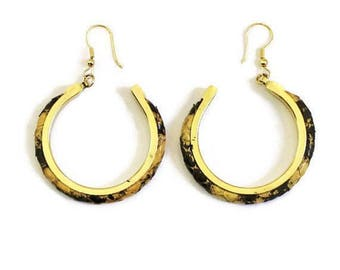 1980's Yellow And Black Snake Skin Hoop Earrings, In Gold Tone